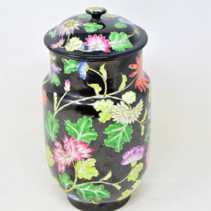 Vaso Nero In Ceramica Con Fiori Colorati