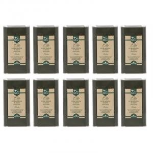 10 lattine da 1 litro OLIO EVO FRANTOIO Olio extravergine di oliva Pugliese cultivar Frantoio Sante in latta da 1 Litro - Terre di Ostuni