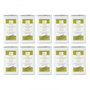 10 lattine da 1 litro OLIO EVO OGLIAROLA Olio extravergine di oliva Pugliese 2020/21 cultivar ogliarola Sante in latta da 1 Litro - Terre di Ostuni