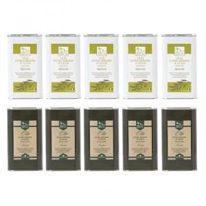 5 lattine da 1 litro OLIO EVO FRANTOIO  e 5 lattine da 1 OLIO EVO OGLIAROLA Olio extravergine di oliva Pugliese cultivar Frantoio e Ogliarola Sante in latta da 1 Litro - Terre di Ostuni