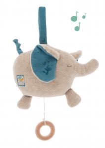 Elefante pupazzo e carillon musicale di Moulin Roty