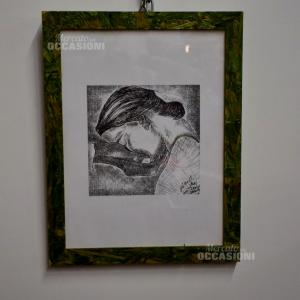 Disegno 200 Milorati Testa Nella Mano Cornice Verde 35x45cm