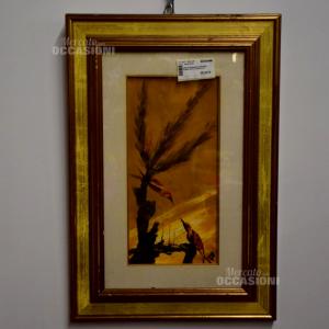 Dipinto Paesaggio Arancione Albero Picchi 43x63cm
