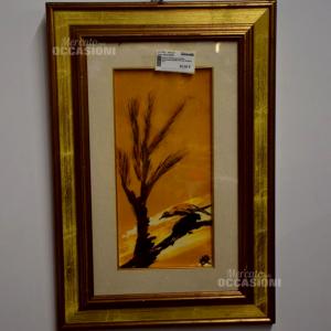 Dipinto Paesaggio Sfondo Arancione Albero Picchio 43x63cm