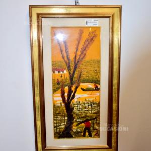 Dipinto Paesaggio Lavooratori Sfondo Arancione Albero Primo Piano 53x93cm