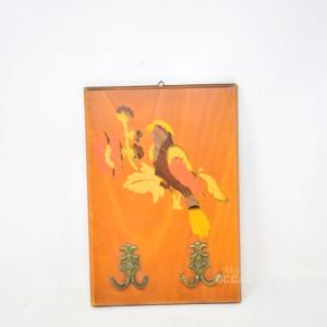 Quadretto Intarziato Uccello 18x25 Con Appendini In Ottone