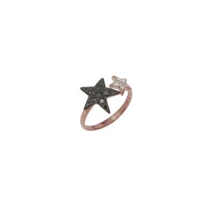 Anello in oro rosa, diamanti neri e bianchi