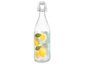 Bottiglia in vetro da 1lt decoro limoni