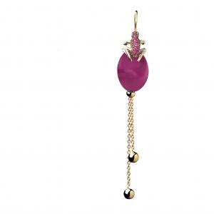 Orecchino singolo in oro rosa e rubini, cataforesi