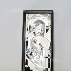 Icona Sacra Maria Argentata 35*15 Cm