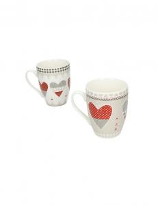 2 tazze mug in porcellana con cuori di Brandani