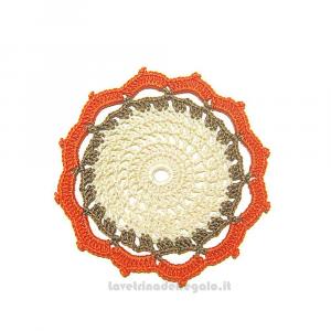 4 pz - Sottobicchiere beige ad uncinetto 11,5 cm Handmade - Italy