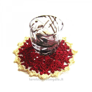 Sottobicchiere bordeaux ad uncinetto 11,5 cm Handmade - Italy