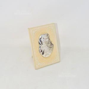 Icona Sacra Argento Su Vetro Bordo Bianco Fiori