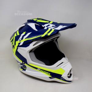 Casco Motocross Ragazzo Oneal Blu Bianco Giallo Fluo Ecer22-05 M580 1450+-50g