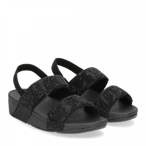 Fitflop Mina Crystal back strap sandals all black
