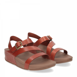 Fitflop The Skinny tm-z cross sandal dark tan leather