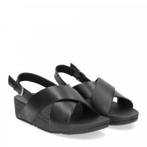 Fiflop Lulu Cross Back Strap Sandal black leather