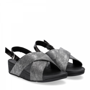 Fiflop Lulu Cross Back Strap Sandal shimmer print black