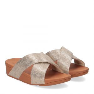 Fitflop Lulu Cross Slide Sandal shimmer print gold