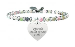Kidult Bracciale Free Time, Life, Ligabue official Collection (Agata multicolor, Cuore incisione: Piccola stella senza cielo)