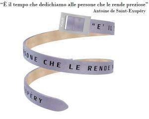 Kidult Cinturino Time Collection, E' il tempo.. Antoine de Saint-Exupéry, pelle grigia