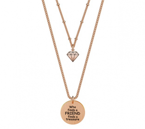 Kidult Collana Love, Life (Who finds a friend.. - collana doppia Pvd Rose Gold)