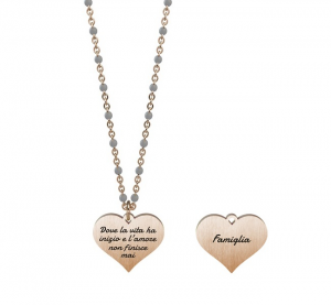 Kidult Collana Family, Life (Cuore   Famiglia - Lung. 44 cm - Pvd Rose Gold)