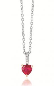Mabina Collana Argento - Cuore Rubino