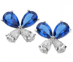 Comete Orecchini Farfalle - Zirconi Bianchi e Blu -