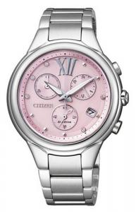 Citizen Crono acciaio (Quadrante rosa, indici con cristalli)