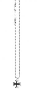 Zancan Collana Insignia Silver (Croce piccola, Cristalli neri)