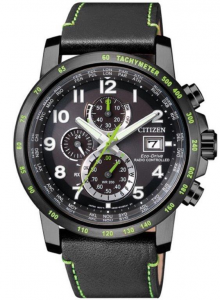 Citizen H800 Sport Quadrante nero, cassa I.P. nero particolari verdi, cinturino pelle nero