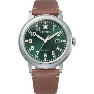Citizen Military Cassa acciaio, cinturino pelle marrone, quadrante verde