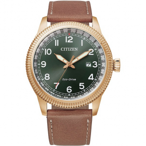 Citizen Aviator Cassa acciaio, cinturino pelle marrone, quadrante verde