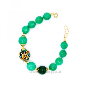 Bracciale con agata verde e sfere in ceramica di Caltagirone - Gioielli Siciliani