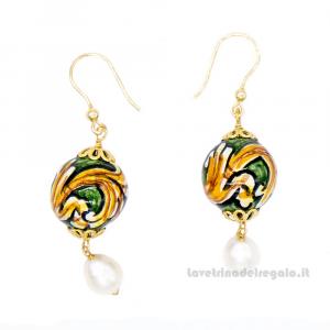 Orecchini con perle di fiume e sfere in ceramica di Caltagirone - Gioielli Siciliani