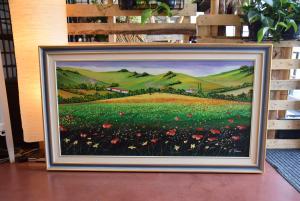 Quadro Dipinto Prato Di Papaveri Autore G.marini 140*80 Cm