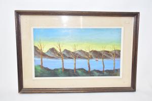 Quadro Dipinto Su Tavoletta Raffigurante Fiume In Autunno Di Manuell 50-37 Cm