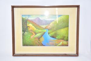 Quadro Dipinto Su Tavoletta 50*35 Cm Raffigurante Fiume Con Alberi