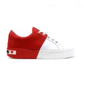 Sneaker bicolore bianco/rossa Love Moschino