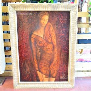 Quadro Dipinto Donna Triste Mezza Nuda 109*82 Cm Autore Kacjna 2001