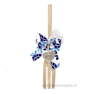 Forchettone con nastro stile Maioliche e cuore in legno 21 cm - Idea Regalo