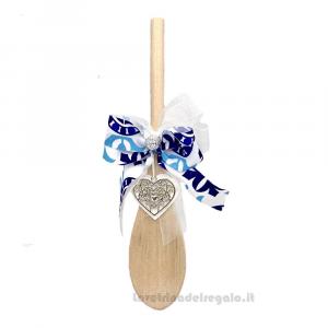 Cucchiaio con nastro stile Maioliche e cuore in legno 20 cm - Idea Regalo