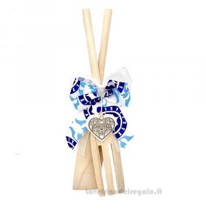 Cucchiaio e Forchettone con nastro stile Maioliche e cuore in legno 20 cm - Idea Regalo