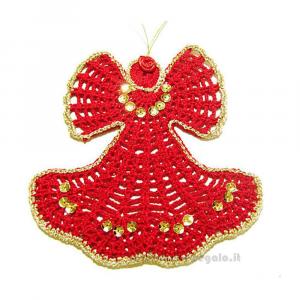 Angelo rosso ad uncinetto 15 cm Handmade - Italy