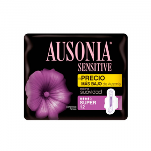 Ausonia Sensitive Super With Wings Sanitary Towels 12 Units