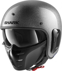 Casco jet Shark S-DRAK 2 BLANK GLITTER in fibra Argento