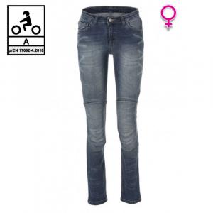 Jeans moto donna Carburo TORIN Lady CE Certificati con fibra aramidica Blu Stonewash