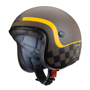 Casco jet Caberg Freeride Formula in fibra marrone opaco giallo